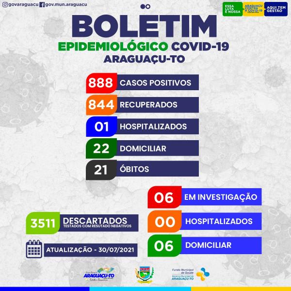 Boletim Epidemiológico Araguaçu-To, Sexta feira 30/07/2021.